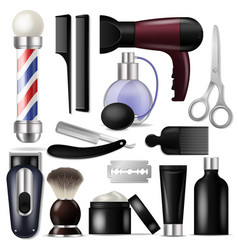 Barber barbershop equipment or hairdresser vector