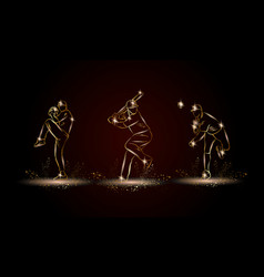baseball players set golden linear baseball vector image