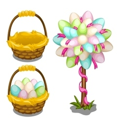 basket with easter eggs and tree decoration vector image