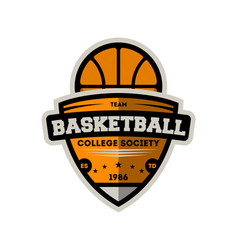 basketball college society vintage label vector image