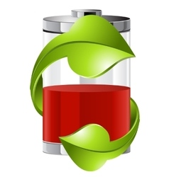 Batteries with green recycling symbol vector