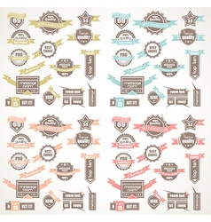 big collection quality labels with 4 colors vector image