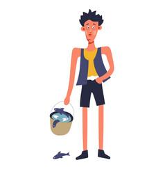 boy with fish bucket fisherman fishing hobby vector image