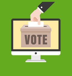 Business hand put card in box for vote on computer vector
