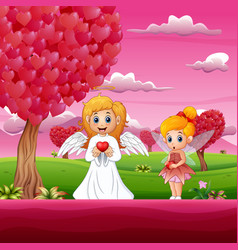 cartoon cupid and a little fairy under the heart s vector image