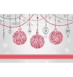 Christmas ballgarlandsNew year greeting card vector