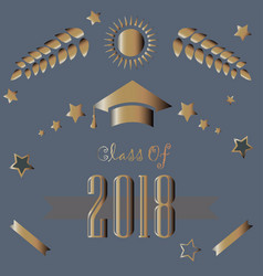 Class of 2018 in gold on purple background vector