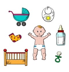 Colorful childish and baby icons vector image