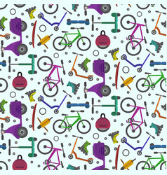 colorful pattern with city teenager transport vector image