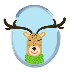 cute cartoon deer into circle vector image