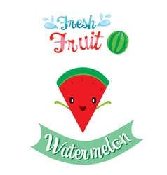 Cute Cartoon Of Watermelon Fruit Banner Logo vector