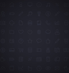 Dark Grid Seamless Pattern with Web Icons vector