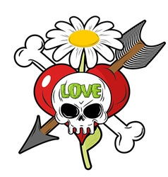 Death and love Skull and red heart Sign for vector image