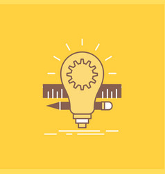 development idea bulb pencil scale flat line vector image