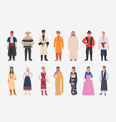 Different people nationalities in ethnic clothes vector