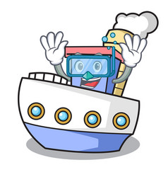 Diving ship character cartoon style vector