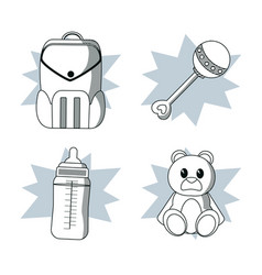 doodle kids toys vector image