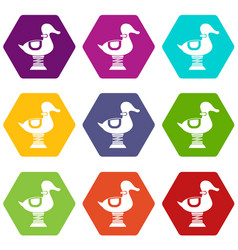 Duck spring see saw icon set color hexahedron vector