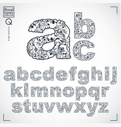 ecology style flowery font typeset made using vector image
