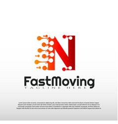Fast moving logo with initial n letter concept vector