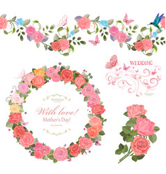 floral collection with roses seamless border and vector image