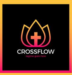 flower cross logo - church vector image