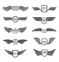 Flying eagle wings logos set vintage vector
