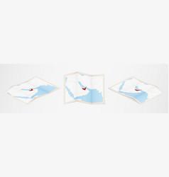 Folded map united arab emirates in three vector