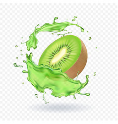 Fresh kiwi fruit juice splashing realistic 3d vector