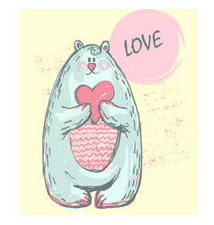 funny cute polar bear with word love pink cheeks vector image