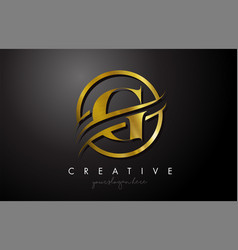 G golden letter logo design with circle swoosh vector