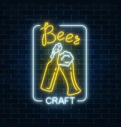 glowing neon beer craft signboard in rectangle vector image