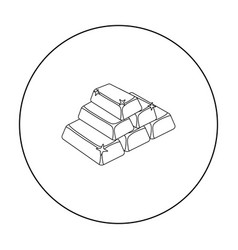 Golden bars icon in outline style isolated on vector