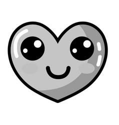 Grayscale kawaii cute happy heart design vector