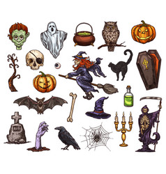 halloween holiday horror night sketch icon design vector image