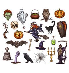 Halloween holiday horror night sketch icon design vector