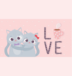 happy valentines day cute couple embraced cats vector image