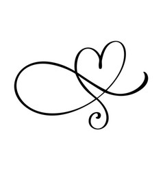 Heart love flourish sign romantic symbol linked vector