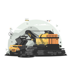 Heavy machinery for coal mining vector