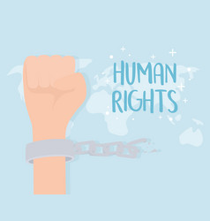 Human rights hand with handcuffs and chain vector