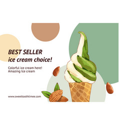 Ice cream frame design with green tea watercolor vector