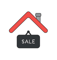 Icon concept sale hanging sign under roof vector