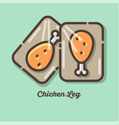 icon leg chicken meat logo vector image