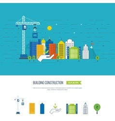 Icons of building construction and urban landscape vector