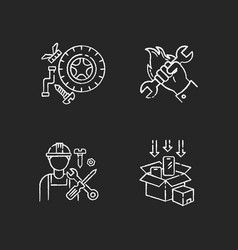 Industrial work chalk white icons set on black vector