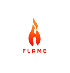 initial letter h with flame logo vector image