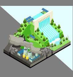 isometric alternative energy production concept vector image