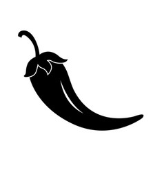 jalapeno chili pepper black flat icon vector image