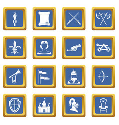 Knight medieval icons set blue vector