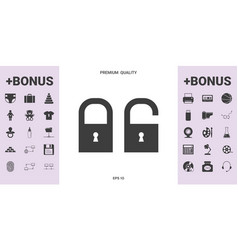 lock unlock - set icon - graphic elements fo vector image